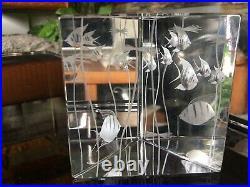 Rare Vintage Vicke Lindstrand Aquarium Prism Block Paperweight for Kosta