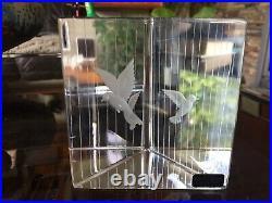 Rare Vintage Vicke Lindstrand Birdcage Prism Block Paperweight 92415 for Kosta