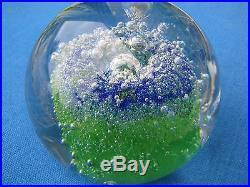 SALE! KOSTA Goran Warff Art Glass PAPERWEIGHT Green, Blue, Bubbles, 1970s