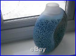 STUNNING KOSTA BODA KJELL ENGMAN SIGNED REEF ART GLASS VASE HUGE 27cm x 25cm
