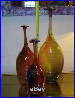 Set 3 Kosta Boda Fidji Glass Bottles Vase Kjell Engman Signed Numbered FLAT TOP
