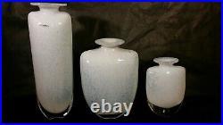 Set of 3 Kosta Boda art glass vases signed Kjell Engman & numbered white blue