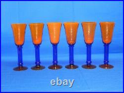 Set of 6 RARE Kosta Boda WINE SET GLASSES ORANGE & BLUE AMAZING BEAUTY