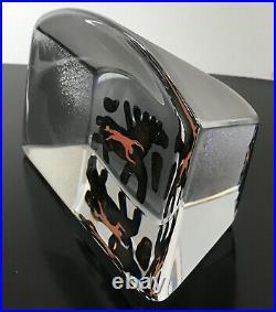 Signed Bertil Vallien Kosta Boda Glass Art Paperweight Horse Man Large RARE