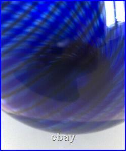 Signed Colora Blue VICKE LINDSTRAND KOSTA BODA SWEDEN Net Glass Vase, H 8 3/4