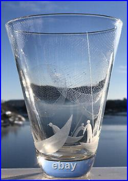 Signed Famous VICKE LINDSTRAND KOSTA BODA Nors Fishing Etched Glass Vase, 1950