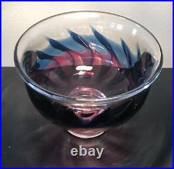 Signed GORAN WARFF KOSTA BODA Bowl Colorful Fire Design Glass, 1960, H3-4