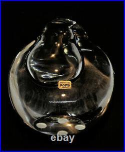 Signed GORAN WARFF KOSTA BODA Vase Raindrop Mid Century Clear Glass, H 5