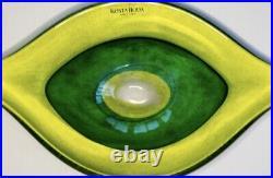 Signed GUNNEL SAHLIN KOSTA BODA Dish Lime Yellow Green Glass mass, L8, 1980's