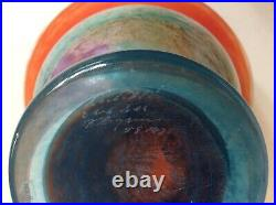 Signed Huge Rare Can Can Vase / Bowl By Kosta Boda Memphis Style