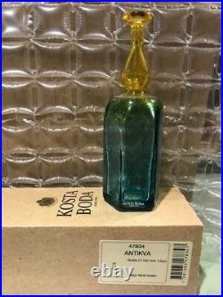 Signed Kosta Boda Antikva Yellow & Green/Blue Bottle Bertil Vallien 47834 NIB