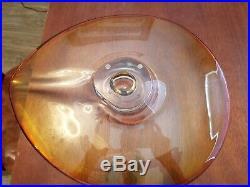 Signed Kosta Boda Goran Warff Art Glass Amber Bowl Centerpiece 16 Near To Mint