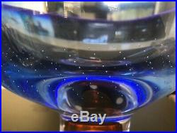 Signed Kosta Boda Goran Warff Zoom Mid Century Modern Art Glass Center Bowl