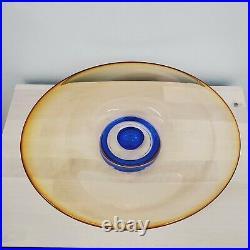 Signed Kosta Boda Goran Warff Zoom Mid Century Modern ArtGlass Center Bowl Large