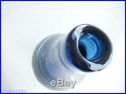 Signed Kosta Boda Mona Morales-schildt Midnight Blue Heavy Cased Glass Vase