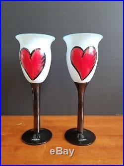 Signed Kosta Boda Ulrica Hydman Vallien Heart Wine Glasses Goblet Set Of 2 Rare