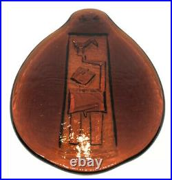 Signed LARGE ERIK HOGLUND KOSTA BODA Light Catcher Glass Plaque Nude Man, H10