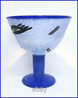 Signed MINT ULRICA HYDMAN VALLIEN KOSTA BODA Bowl Open Minds Footed Blue Glass