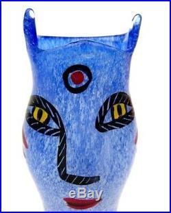 Signed Original Ulrica Hydman-Vallien Kosta Boda'Open Mind' Small'Face' Vase