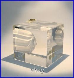 Signed RARE BERTIL VALLIEN KOSTA BODA Cube Face Sculpture Glass Sweden, H 3