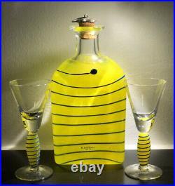 Signed Set Anna Ehrner KOSTA BODA SWEDEN Decanter and Two Snaps glass