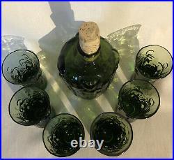 Signed Set ERIK HOGLUND KOSTA BODA Glass Decadent and Six Glass Adam & Eva Green