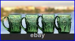 Signed Set ERIK HOGLUND KOSTA BODA Mugs Beer Adam & Eve Green Glass Four, 1960
