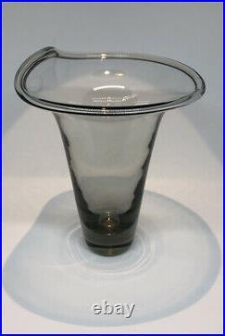 Signed Set VICKE LINDSTRAND KOSTA BODA Vase Smoke Glass SWEDEN, 1950s