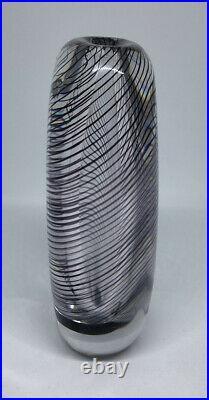 Signed Solid Thickwall VICKE LINDSTRAND KOSTA BODA SWEDEN Glass Vase Stripes