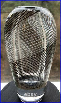 Signed Solid Thickwall VICKE LINDSTRAND KOSTA BODA SWEDEN Glass Vase Stripes H7