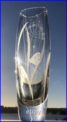 Signed Solid VICKE LINDSTRAND KOSTA BODA SWEDEN Summer Etched Glass Vase, H12