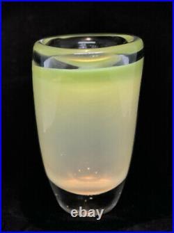 Signed Solid VICKE LINDSTRAND KOSTA BODA Vase Rare Mid Century Summer Glass, 1950
