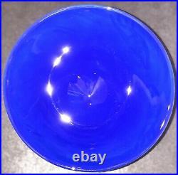 Signed ULRICA HYDMAN VALLIEN KOSTA BODA Bowl Open Minds Footed Blue Glass, H8