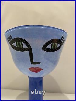 Signed Ulrica Hydman Vallien Kosta Boda Open Minds Footed Blue Glass Art Bowl