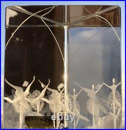 Signed VICKE LINDSTRAND KOSTA BODA SWEDEN Ballerina Glass Prism Etched Sculpture
