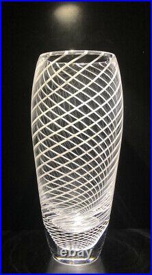 Signed VICKE LINDSTRAND KOSTA BODA SWEDEN White Glass Fish Net Vase, H8 1/4