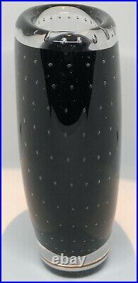 Signed VICKE LINDSTRAND KOSTA BODA Vase Hand Blown Bubbles Black Glass SWEDEN