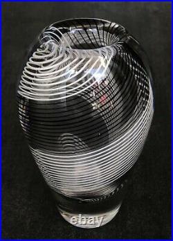 Signed VICKE LINDSTRAND KOSTA BODA Vase Mid Century Glass Stripes SWEDEN, H 6