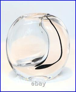 Signed VICKE LINDSTRAND KOSTA BODA Vase Solid Clear Glass, Black Stripe, 1950's