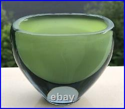 Signed VICKE LINDSTRAND KOSTA BODA Vase Sommerso Green Glass, H 3-4, 1950's