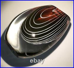 Signed VICKE LINDSTRAND KOSTA BODA Vase Zebra Red With White Stripes Glass 1950