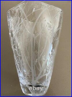 Signed VICKE LindSTRAND Kosta Boda Birds Trees Crystal Etched studio Glass Vase