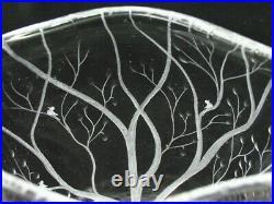 Signed Vicke Lindstrand Kosta Boda Birds Trees Crystal Etched Glass Vase 9