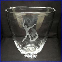 Signed Vintage MCM Kosta Vicke Lindstrand Large Etched Glass Vase Horse & Man