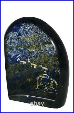 Signed WARFF Lappland KOSTA BODA SWEDEN Petroglyph Glass Reindeers Sculpture