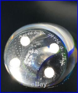 Solid GORAN WARFF KOSTA BODA SWEDEN Signed Green Blue Glass Vase With Bubbles