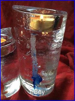 Stunning KOSTA BODA Pair HURRICANE ICE SWEET HEARTS TEA VOTIVE CANDLE HOLDERs