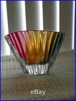 Stunning Kosta Boda Vase Bowl Goran Warff Signed Ribbed Color Rainbow Colorful