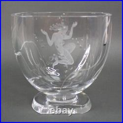 Stunning Lars Kjellander Swedish Art Deco Mermaid Etched Crystal Art Glass Vase