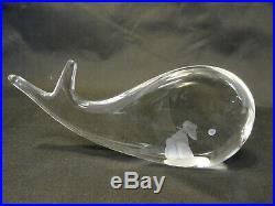 Sweden Crystal Kosta Boda Jonah & Whale Figurine V. Lindstrand Signed/Nm A4-8